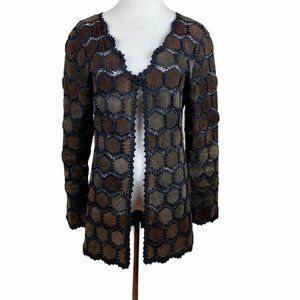 II Sisters Leather Patch Cardigan Jacket Crochet M